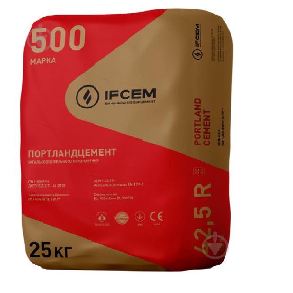 Цемент Ifcem  25кг ПЦ I-500 Портландцемент Ивано-Франковск -красный - PRORAB image-1
