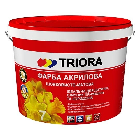 Краска акриловая TRIORA стойкая к мытью 10л - PRORAB