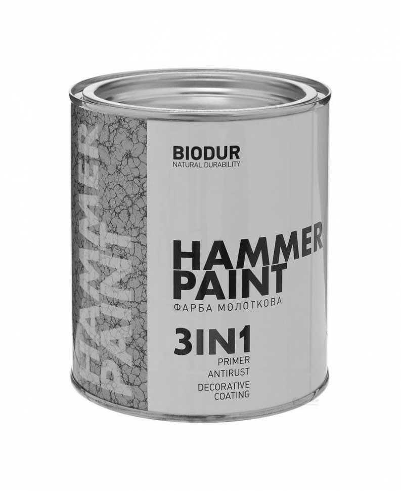 Краска молотковая 3 в 1 BIODUR Hammer Paint 2,1л 104 серая - PRORAB image-1