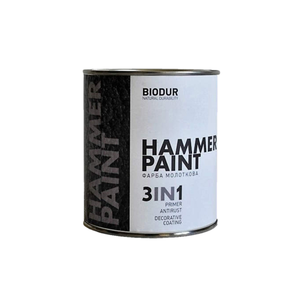 Краска молотковая 3 в 1 BIODUR Hammer Paint 0,7 104 серая - PRORAB