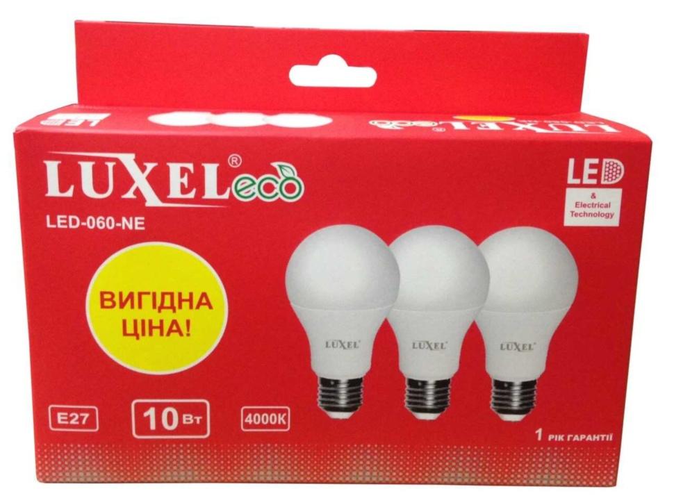 Лампа LED LUXEL Е27 10Вт A-75 4000К 060-NE мультипак 3шт - PRORAB