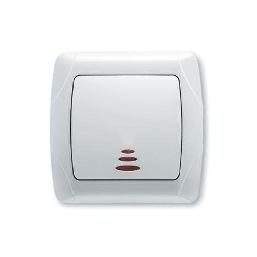 Выключатель VIKO Carmen 1-клавишный, внутренний с подсветкой белый - PRORAB