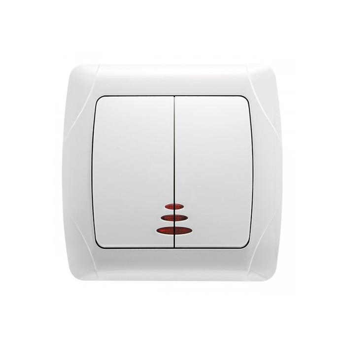 Выключатель VIKO Carmen 2-клавишный внутренний с подсветкой белый - PRORAB