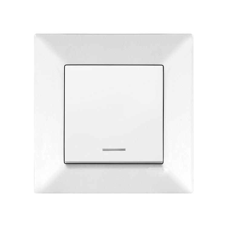 Выключатель VIKO Meridian 1-клавишный внутренний с подсветкой белый - PRORAB image-2
