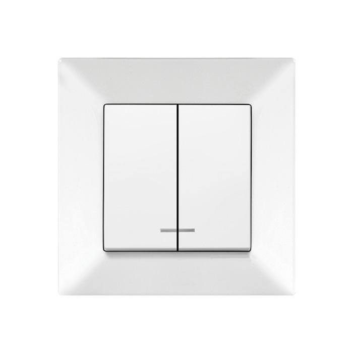 Выключатель VIKO Meridian 2-клавишный внутренний с подсветкой белый - PRORAB image-1