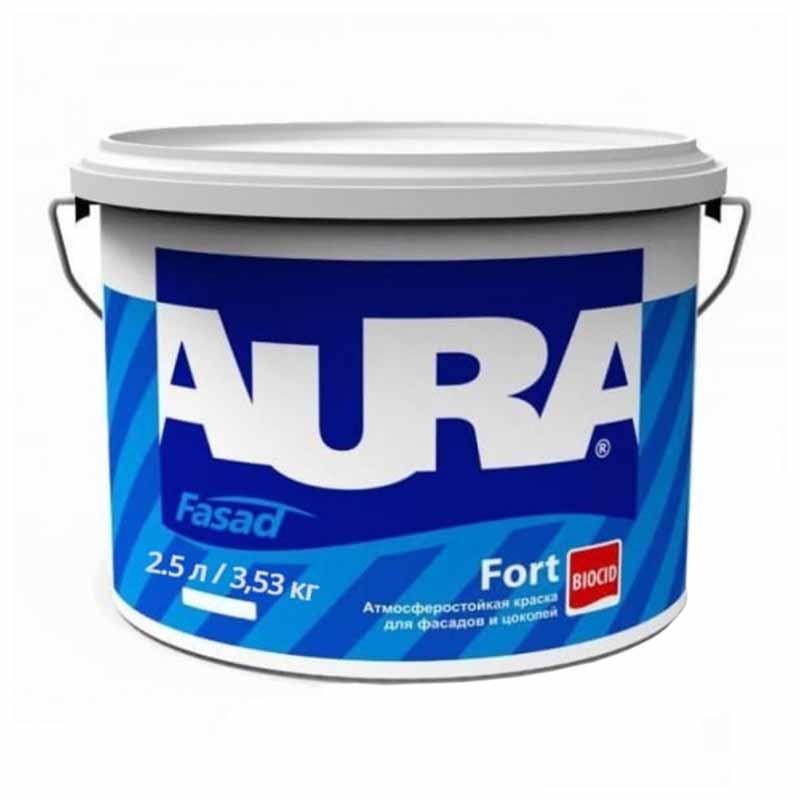 Краска фасадная AURA Fasad Fort 2,5л белая - PRORAB image-2