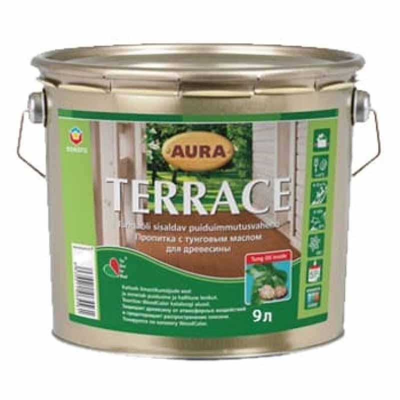 Масло для дерева AURA Terrace 9л бесцветная - PRORAB