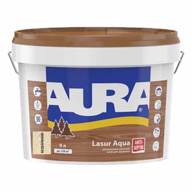 Деревозащитный средство AURA Lasur Aqua акриловый 9л бесцветный - PRORAB image-1