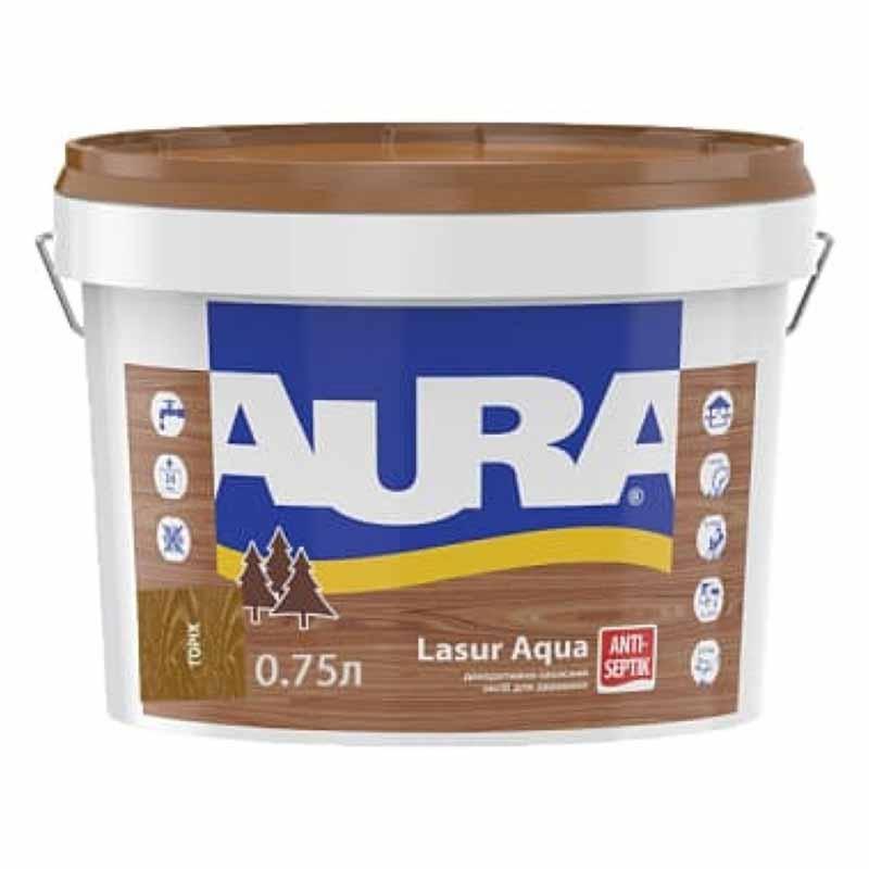 Деревозащитный средство AURA Lasur Aqua акриловый 0,07л орех - PRORAB image-3