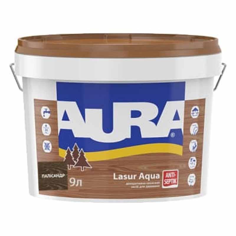 Деревозащитный средство AURA Lasur Aqua акриловый 9л палисандр - PRORAB image-4