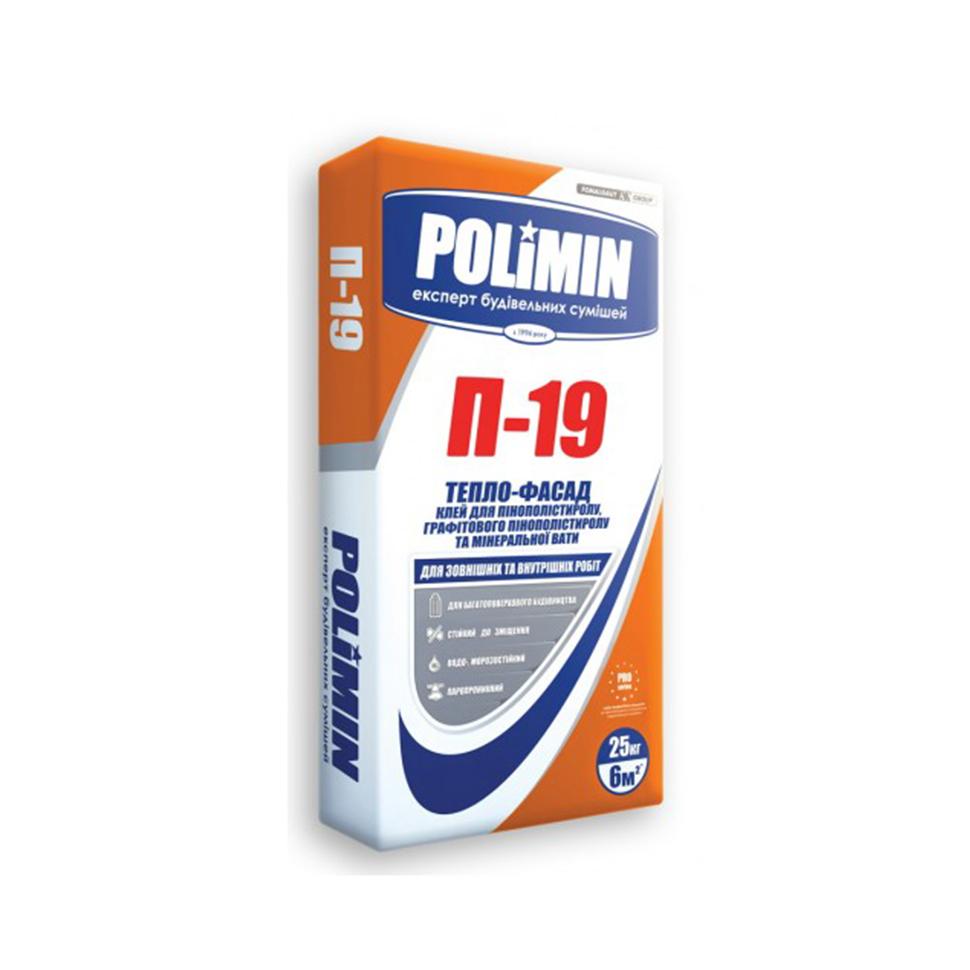 Клей для пенополистирола и минеральной ваты POLIMIN П-19 Тепло-фасад 25кг - PRORAB image-1