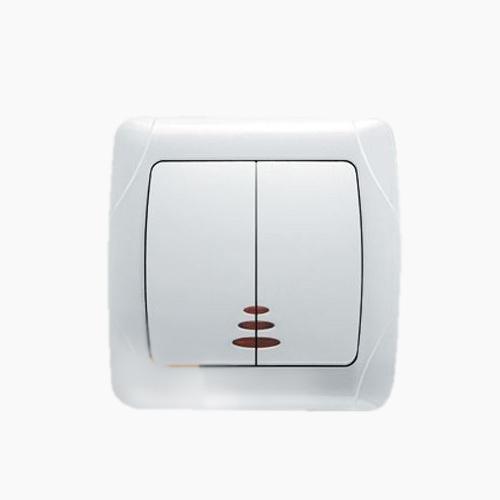 Выключатель VIKO Carmen 2-клавишный внутренний с подсветкой белый - PRORAB image-1