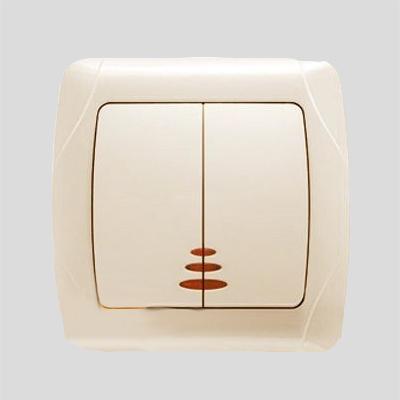 Выключатель VIKO Carmen 2-клавишный, внутренний с подсветкой крем - PRORAB image-1