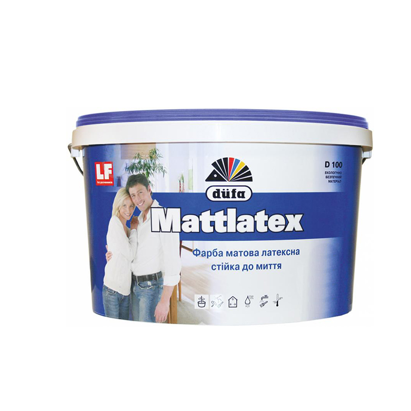 Краска DUFA Mattlatex D100 1,4кг латексная - PRORAB image-1