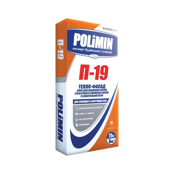 Клей для пенополистирола и минеральной ваты POLIMIN П-19 Тепло-фасад 25кг - PRORAB image-2
