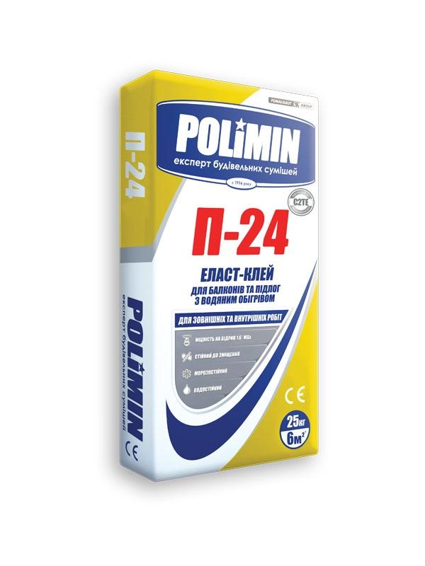 Клей для плитки POLIMIN Р-24 Эласт-КЛЕЙ 25кг серый - PRORAB image-1