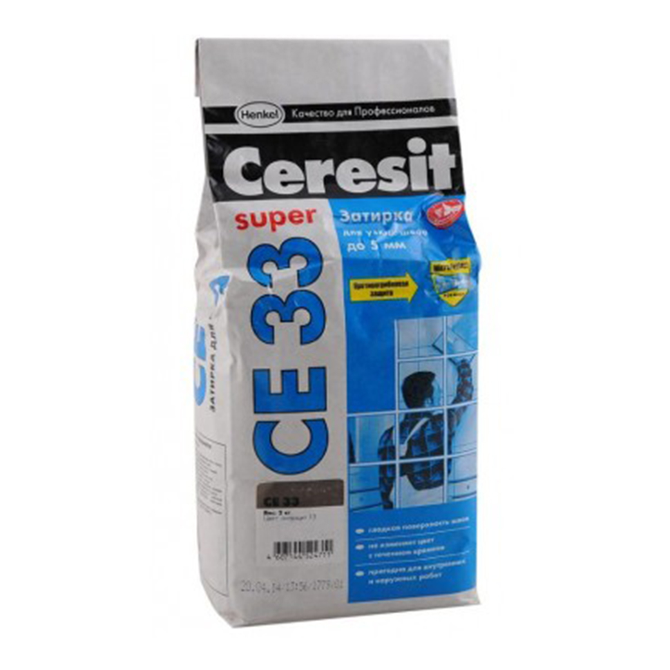 Затирка CERESIT СЕ-33 антрацит 2кг - PRORAB