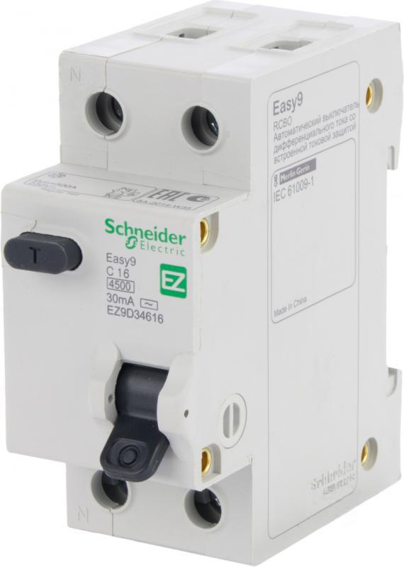 Дифференциальный автомат SCHNEIDER ELECTRIC 1р + N 16А 30мА С АС EZ9D34616 - PRORAB image-17