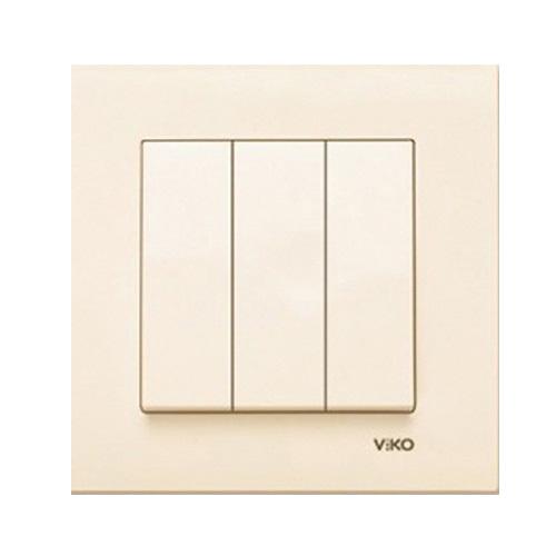 Выключатель VIKO Carmen 3-клавишный, внутренний крем - PRORAB image-1