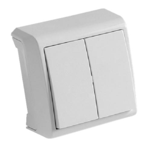 Выключатель VIKO Vera 2-клавишный, внешний белый - PRORAB