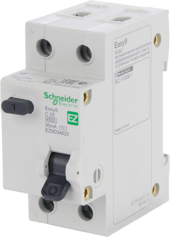 Дифференциальный автомат SCHNEIDER ELECTRIC 1р + N 25А 30мА С АС EZ9D34625 - PRORAB image-19